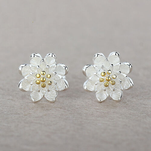 Jewelry - 925 Sterling Silver Women Jewelry Cute Flower Elegant Crystal Ear Stud Earrings