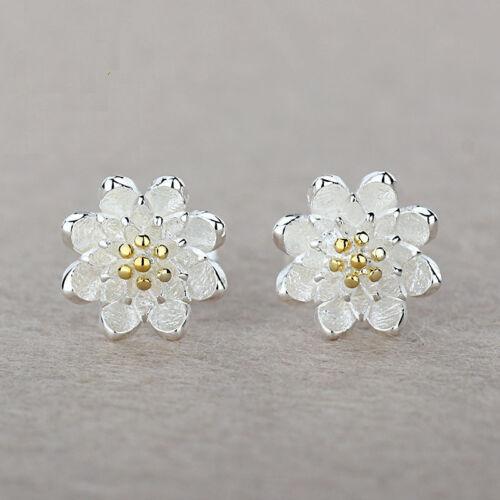 Jewellery - 925 Sterling Silver Women Jewelry Cute Flower Elegant Crystal Ear Stud Earrings