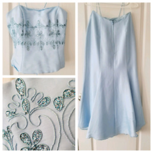 Light Blue corset back top and skirt