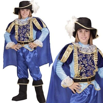 BLAUER PRINZ Kinder Jungen Kostüm Mittelalter Gewand König Märchen Karneval - Kind Mittelalter Prinzen Kostüm