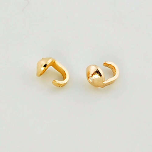 18K Solid Yellow Gold Crimp Hook Bead Tip End Findings