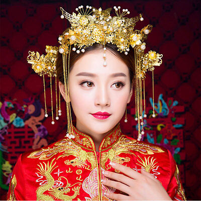 Gold Wedding Tiaras Chinese Luxury Bridal Crown Headpiece Earrings Pageant Sets