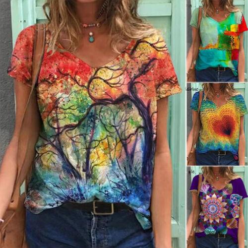 Summer Women Casual Tie-dye V Neck T Shirt Short Sleeve Blouse Loose Tunic Top