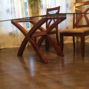 Glass X-Frame Pedestal Dining Table with Chairs Edmonton Edmonton Area image 3