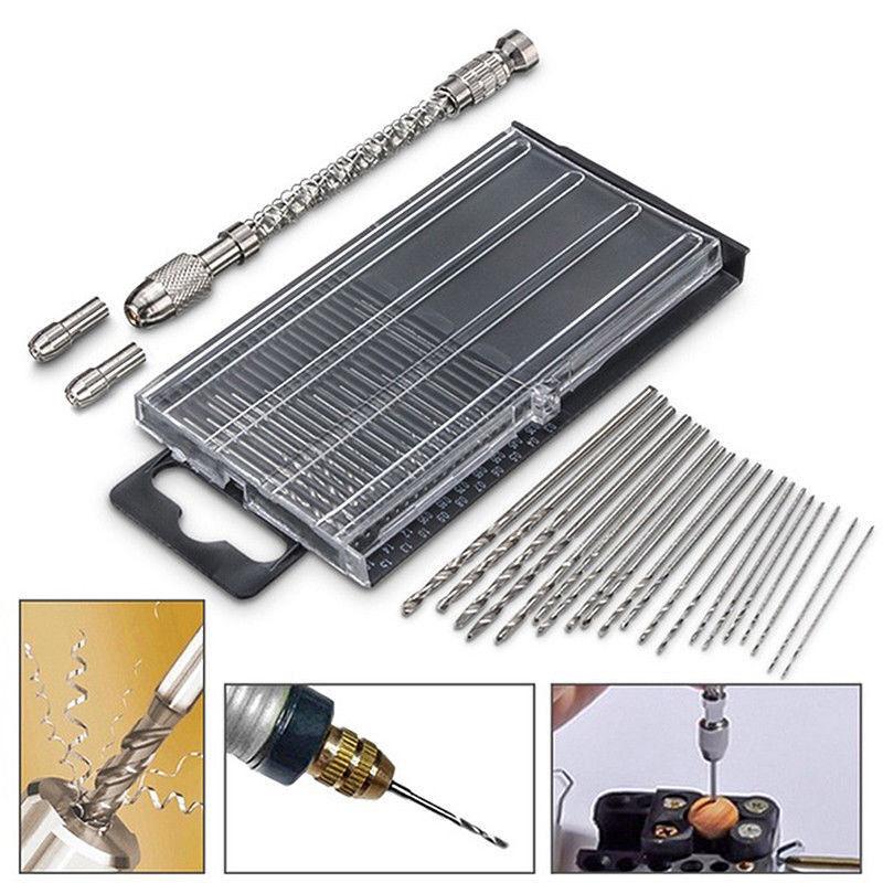 21Pcs HSS Mini Micro Spiral Hand Manual Push Drill Chuck Twi