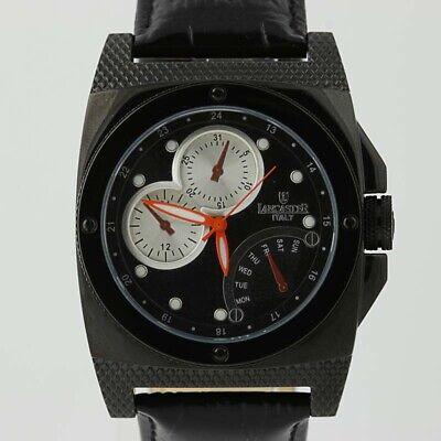 New Lancaster Men's Watch Italian Leather Stainless Steel Quartz 0344 Black ()