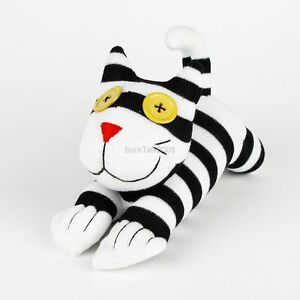 Handmade Sock Monkey Black And White Striped Cheshire Cat Stuffed Animals Toy