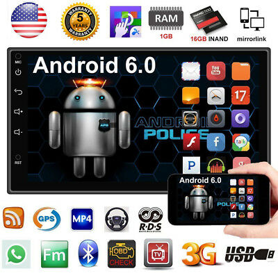 "2DIN Quad Core Android 6.0 3G WIFI 7"" Double Car Radio Stereo MP5 Player GPS US"