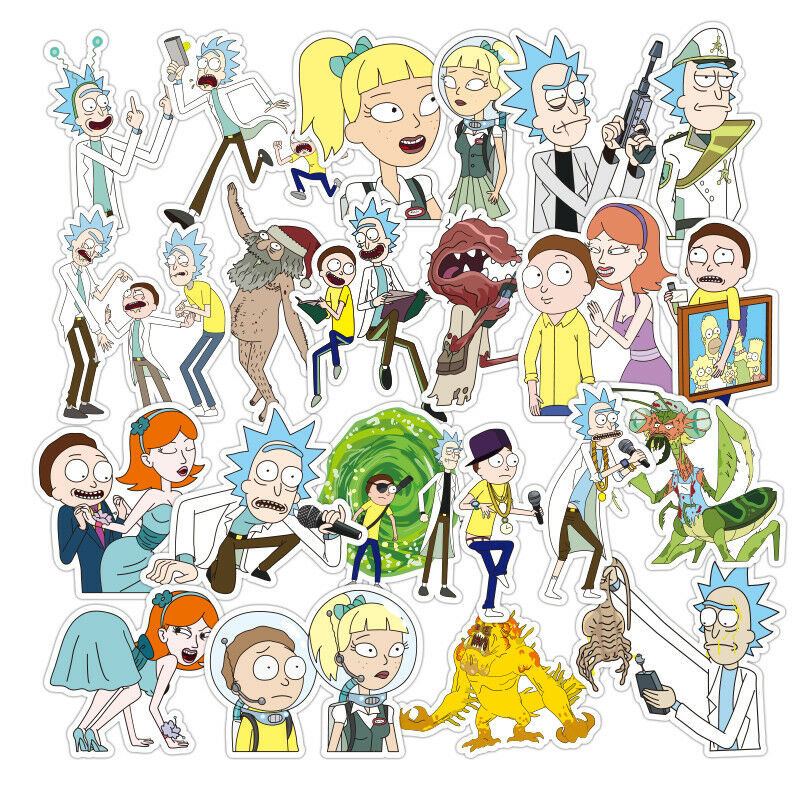 Home Decoration - 100PCS Rick and Morty Car Stickers Decal Style Vinyl Character Decoration Paper