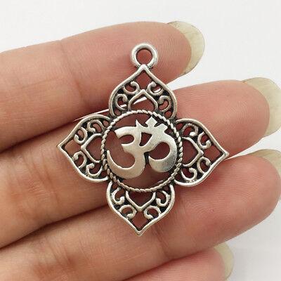2/5 PCS Filigree OHM OM AUM Buddha Lotus silver pendant charms,Buddhist, yoga ch (Yoga Charms)