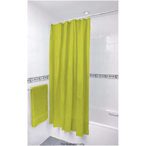 Plain Modern Shower Curtains 100% Polyester Various Colours with 12 Clear Hooks