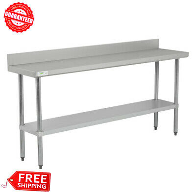 Commercial 18 X 72 Stainless Steel Work Prep Table With Backsplash Undershelf