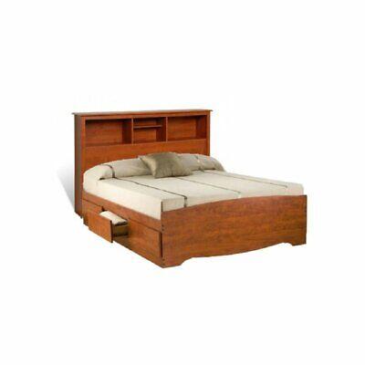 Prepac Monterey Queen Bookcase Platform Storage Bed in Cherr