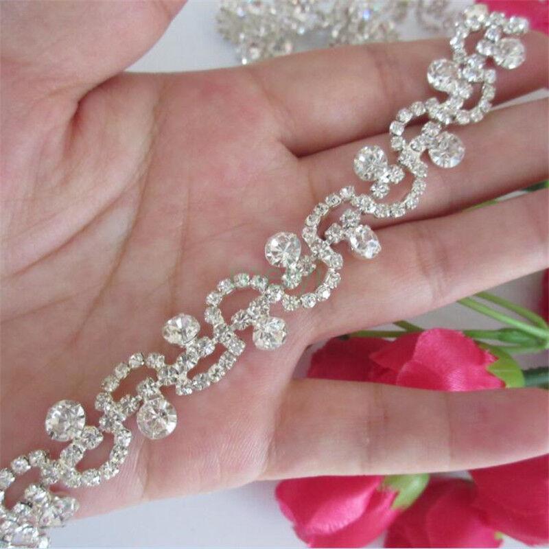 Sequin Bridal Rhinestone Chain Trims Diamante Crystal Applique DIY Wedding Dress