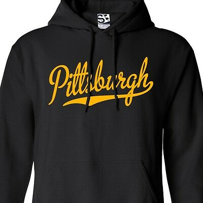 Pittsburgh Script HOODIE Hooded Sweatshirt Sports Ball Team - All Sizes & Colors ()