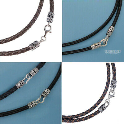 Antiqued Sterling Silver Round Genuine Leather Cord Necklace, Hook/Lobster -