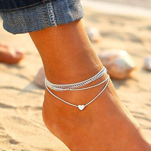 2PCS Ankle Bracelet Silver Multi Layer Womens Anklet Adjusta