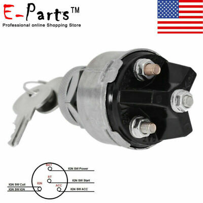 Universal Ignition Switch 2 Keys 12volt 4 Position Onoff Start Acc