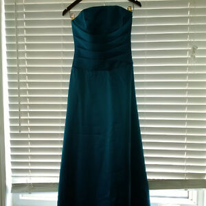 Strapless Alfred Angelo Dress (Teal Satin)