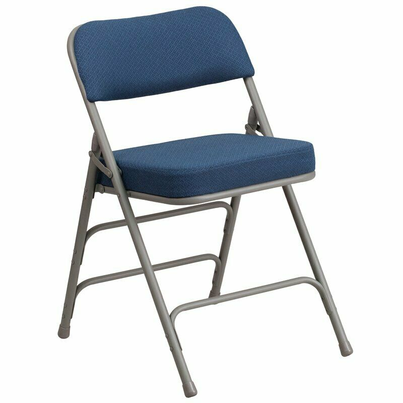Flash Furniture Metal Folding Fabric Chair in Gray and Navy Blue