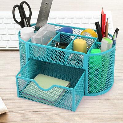 Blue Desk Organizer Mesh Metal Desktop Office Pen Pencil Holder Storage Tray