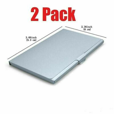 2 Pack Pocket Stainless Steel Metal Business Card Holder Case Id Credit Wallet
