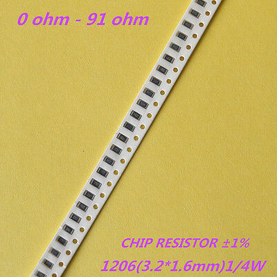 100pcs 1206 1% SMD Chip Resistors 1/4W 0.25W SMT Resistance 0R to 91R - RoHS - New 0.25' Chip