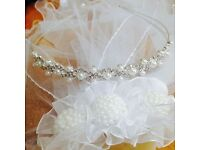 STUNNING YOUNG GIRLS HOLY COMMUNION SILVER DIAMANTÉ FAUX PEARL TIARA AGE 7/8 £4.99