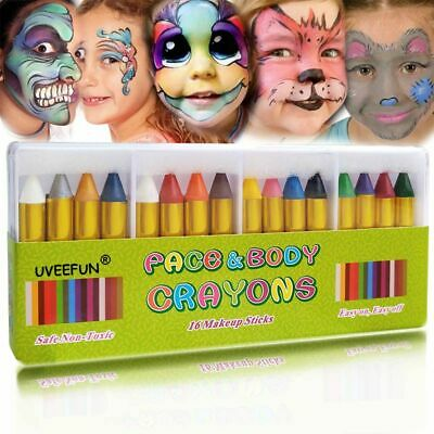 Child Face Paint For Halloween (Face Paint Crayons Body Painting Pastel Pen 16 Colors Stick For Children)