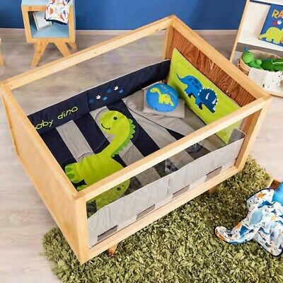 BABY BOY DINOSAUR CRIB 6 PCS COMFORTER SET, PERFECT GIFT OR FOR YOUR OWN BABY Six Piece Crib Set
