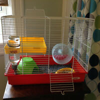 Hamster,cage and accessories for sale