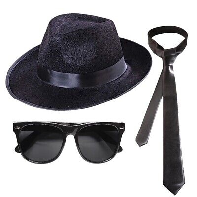 BLUES BROTHERS GANGSTER SET Hut + Brille + - Mafia Kostüme