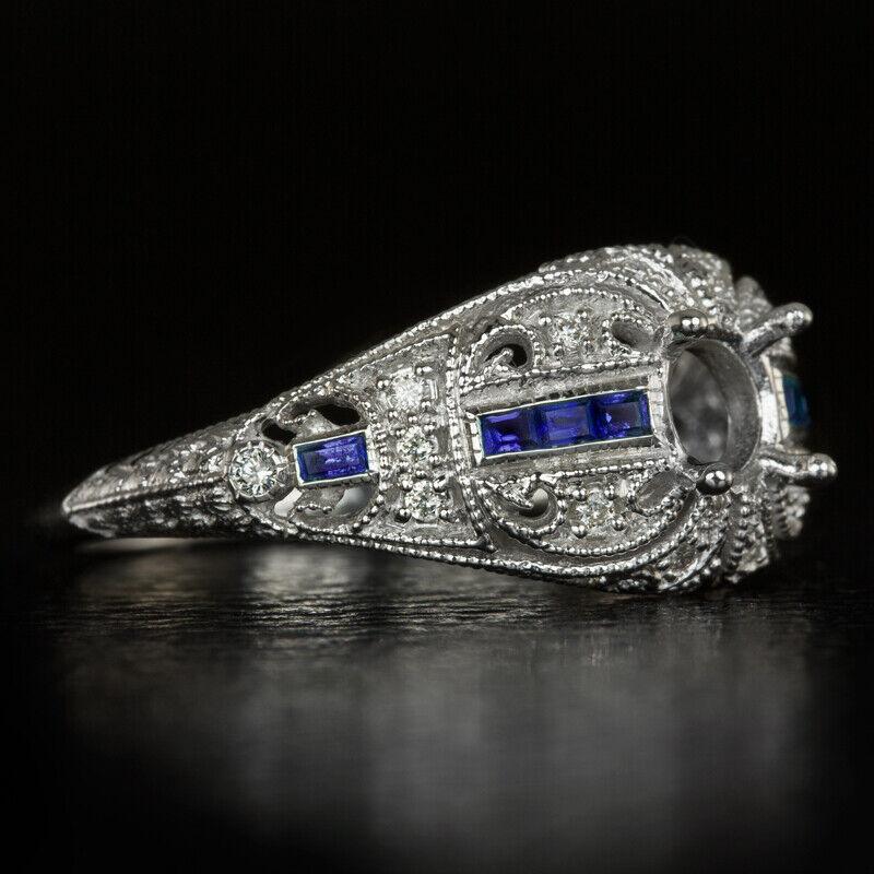 DIAMOND SAPPHIRE VINTAGE ENGAGEMENT RING SETTING ROUND SEMI MOUNT 5mm 5.5mm DECO