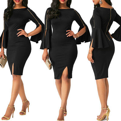 - Women Bandage Bodycon Casual Flare Sleeve Evening Party Cocktail Club Mini Dress