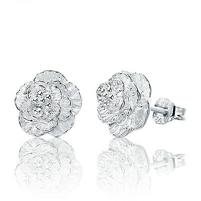 Women Cherry blossoms Lady Elegant Crystal 925 Sterling Silver Ear Stud Earrings