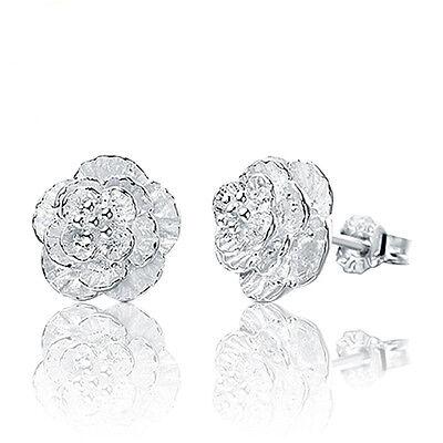 Earrings - Women Cherry blossoms Lady Elegant Crystal 925 Sterling Silver Ear Stud Earrings