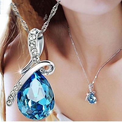 Jewellery - Women's Fashion Silver Chain Crystal Rhinestone Pendant Necklace Jewelry Gift
