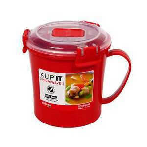 sistema red klip it microwave soup to go mug 656ml lunch work snack bpa free ebay. Black Bedroom Furniture Sets. Home Design Ideas