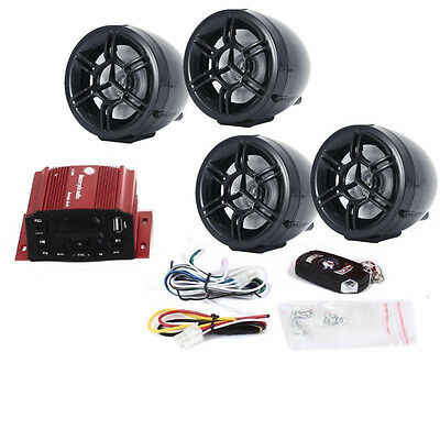 3 Inch Utv Atv Motor Anti Theft Speakers Fm  Usb Audio System Stereo 4 Channels