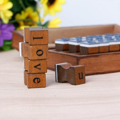 30pcs Retro Alphabet Letter Lowercase Uppercase Rubber Wooden Stamp Set Craft