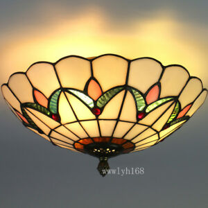 Stained glass ceiling light fixture ebay tiffany style vintage light stained glass classical ceiling lighting fixture w aloadofball Gallery