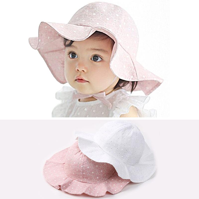 7f567e5a3 Boys Girls Dot Bucket Hat Wide Brim Hats Kids Baby Cotton Outdoor ...