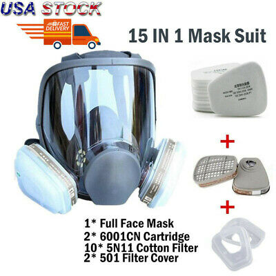Us 15 In 1 Medium Size Full Face Gas Mask Facepiece Respirator Painting Spray Us