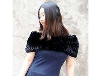 DAYMISFURRY-- Rex Rabbit Fur Lady Off Shoulder Cape In Black