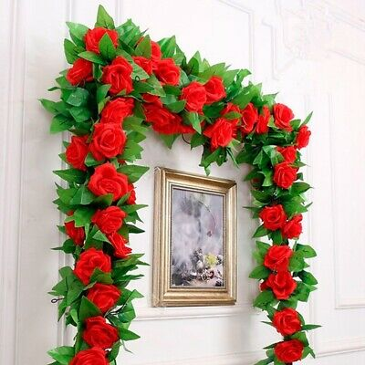 2.4m Long Silk Rose Flower Ivy Vine Leaf Garland Wedding Party Home Decorations - Rose Garland