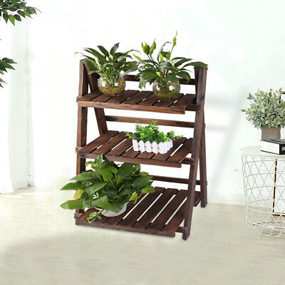 3 Tiers Folding Fir Wooden Shelf Plant Flower Pot Stand Ladder Storage Indoor