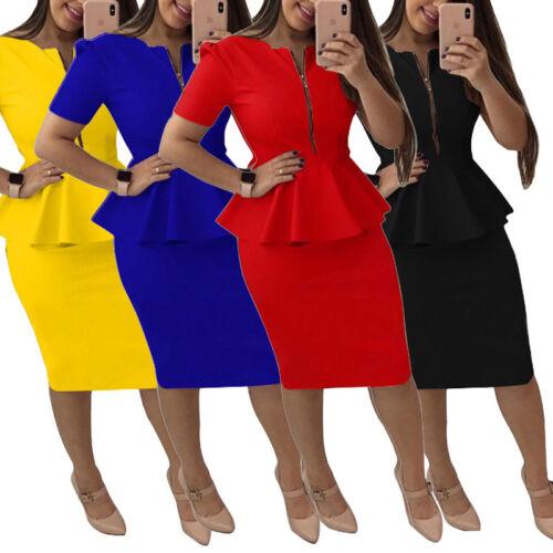 Women Clothing Office Wear Peplum Dress Bodycon Skirt Casual Short Sleeve Zipper