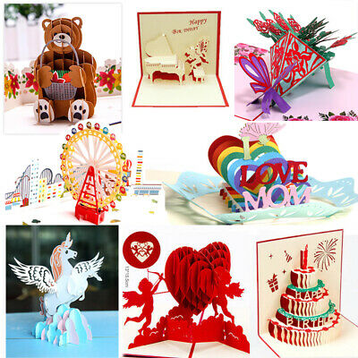 3D Pop Up Greeting Cards Birthday Valentines Day Holiday Anniversary Postcards 3d Pop Up Christmas Cards
