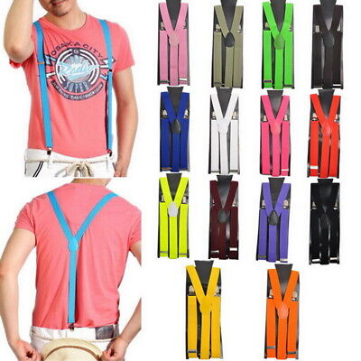 Us Unisex Elastic Y-shape Braces Mens Womens Clip-on Suspenders Adjustable Wds
