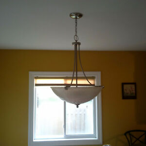 Frosted glass and brushed chrome chandelier Kitchener / Waterloo Kitchener Area image 1